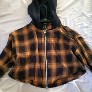 Crop top long sleeve zip up flannel hoodie
